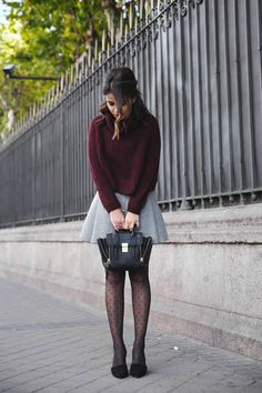 Dot tights, heather, burgundy