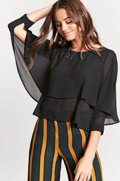 :Product name:tiered crepe hem top, mulher vir Blouse Styles, Blouse Designs, Kurti Embroidery Design, Resort Dresses, Long Sleeve Mini Dress, Blouse Dress, Contemporary Fashion, Casual Tops, Chic Outfits