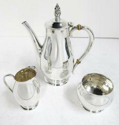 Royal Danish, Sterling Silver, 3 Piece Demi Tasse / Coffee Set.  #C140 #InternationalSilver Coffee Set, Kettle, Danish, 3 Piece, Antique Silver, Tea Pots, Sterling Silver, Antiques, Tableware