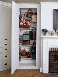 Closet for the purses!  Genius! BUT i would want it for all my cute bags...i see a hallway closet remodel coming soon.