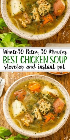 This easy 30 minute chicken soup is every bit as healing as it is simple. There's nothing like a cozy, hearty and healthy chicken soup. This paleo chicken soup is made without the junk but with all the flavor. With instant pot instructions, and st Healthy Soup Recipes, Veggie Recipes, Whole Food Recipes, Dinner Recipes, Paleo Soup, Keto Recipes, Whole30 Soup Recipes, Whole 30 Crockpot Recipes, Free Recipes