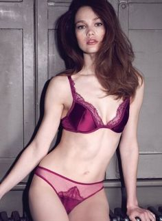 Aurora Padded Plunge Bra and Lace Brief