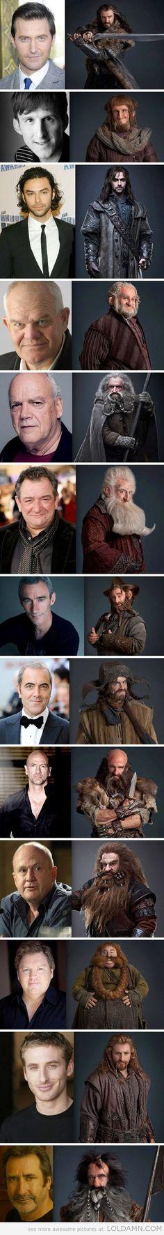 The Hobbit dwarves, pre and post make-up…