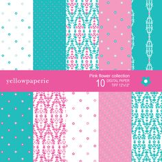 Pink Flower Digital Papers
