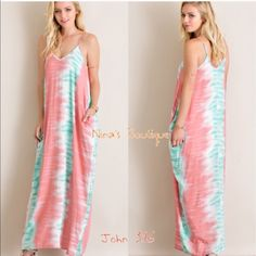 saleLast smallSummer Maxi Sleeveless v-neckline maxi dress has a tie dye print design with a gathered cocoon fit and side pockets...adjustable straps 100% rayon - Price is firm                                                                   S(2-6) M(8-12) L(14) Small bust 36' Medium bust 38' Large bust 40' Dresses Maxi