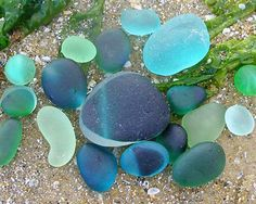 Sea glass - blues and greens