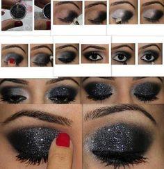 Glitter Eye Makeup tutorial  - #eyemakeup #eyes #eyeshadow #blackglittershadow #blackglitter #smokeyglitter - bellashoot.com