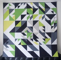 Custom green quilt designed randomly with HYPE+Processing code. Designed and made by Libs Elliott.