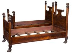 Fine Pair of Regency Beds with Carved Lions and Paw Feet, England, circa 1820 | From a unique collection of antique and modern beds at https://www.1stdibs.com/furniture/more-furniture-collectibles/beds/