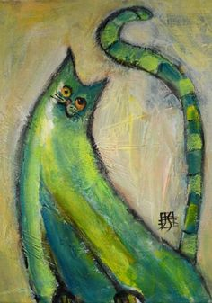 Morning Stretch modern cat painting on canvas by Joanie Springer