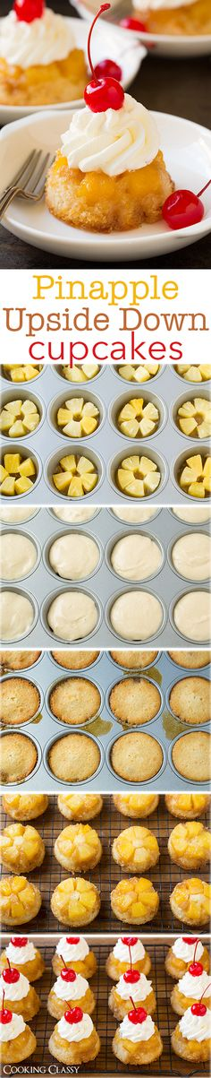 -Pineapple Upside Down Cupcakes {Perfect Size} – Cooking Classy Pineapple Upside Down Cupcakes – I've already made these twice and I'm making them again tomorrow for company! Just like that classic cake your grandma made but in cupcake form! Cupcake Recipes, Baking Recipes, Cupcake Cakes, Dessert Recipes, Cup Cakes, Cupcake Ideas, Mini Cakes, Yummy Treats, Sweet Treats