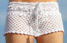 Shorts de ganchillo de algodón blanco