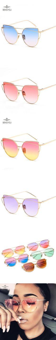 New Fashion Cat Eye Sunglasses Women Brand Designer Twin-Beam Ocean Lens Sun Glasses UV400 Metal Frame Men Sun Glasses