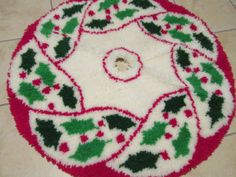 Tree Skirt Latch Hook Holly Christmas By GirlPickers On Etsy 2800