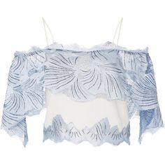 Sophia Kah Crystal Clear Water Top ($510) ❤ liked on Polyvore featuring tops, blue, blue off the shoulder top, blue off shoulder top, spaghetti strap top, blue top and off-shoulder tops