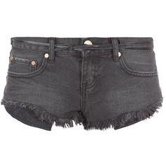DASH One Teaspoon Basalt Black No 2 Short shopdashonline.com (395 BRL) ❤ liked on Polyvore featuring shorts, torn shorts, denim shorts, distressed shorts, ripped jean shorts and destroyed denim shorts