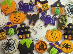 haunted house, bat, pumpkin, ghost, and other halloween cookies