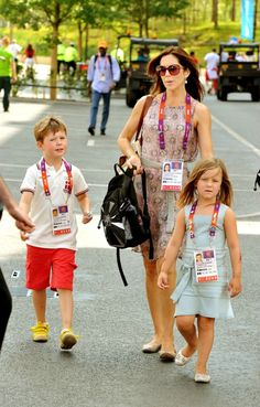 Princess Mary and Prince Frederik visit the London 2012 Olympic village with her children Prince Christian and Princess Isabella