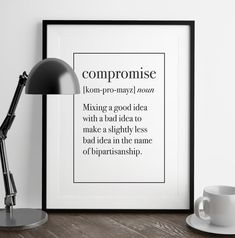 Compromise Definition Print | Kitchen Art | Living Room Decor | Funny Art | Home Decor | Art Print | Fuzzy and Birch