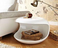 Beistelltisch Conch 62x38 cm Weiss Hochglanz rund Möbel Tische Beistelltische