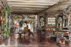 One-of-a-Kind Shop, New Orleans Square, Frontierland Walt Disney Imagineering, Disney Artists, Vintage Disneyland, Walt Disney Company, Disney Parks, Disney Disney, Cartoon Drawings, New Orleans, Graphic Art