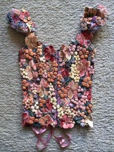 Ema Savahl Couture Corset Hand Painted Floral Top
