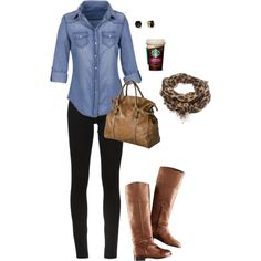 """""""Chambray outfit"""" aka my uniform! Plus I love any outfit that has Starbucks as an accessory. Mode Outfits, Casual Outfits, Fashion Outfits, Womens Fashion, Fashion Ideas, Hipster Outfits, Cheetah Outfits, Polyvore Outfits Casual, Casual Shoes"""