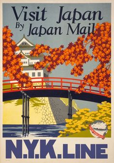 Visit Japan by Japan Mail. N.Y.K. Line. A view of a Japanese building and bridge can be seen in this vintage travel poster originally printed in Japan, circa 1930.