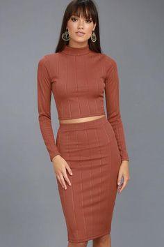 4cbdf8163ee Lulus - Lulus My Way Rusty Rose Two-Piece Long Sleeve Dress - AdoreWe.