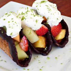Dessert Tacos with Cookie Thin Shells, Chocolate Ganache, Fresh Fruit Filling and Lime CocoWhip - yes, the recipe is as amazing as it sounds! Gluten-free (with wheat option), dairy-free and optionally vegan!