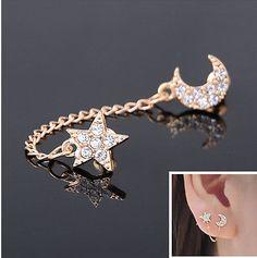 1 Vintage Two Piercing Ear Cuff Ring Chain Clip Earring double piercing earring