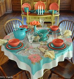 The Little Round Table- I love my Fiestaware! Bright and beautiful it adds to any table