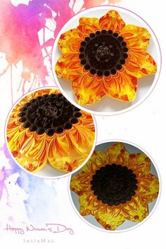 Quilled Sunflower#Collage#Quilling#Orange Yellow Brow#Mandala