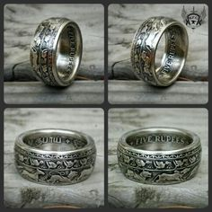 Size 13.75  Five Rupee silver coin ring. .this is just one stunning ring !