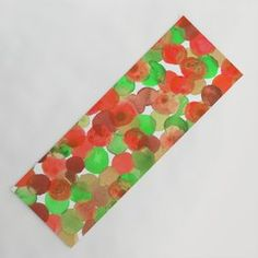Watercolor Circles - Red and Green Yoga Mat