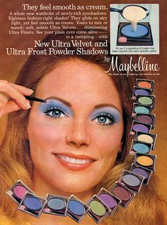 Maybelline advert c1970s Formulations included pressed powder, liquid and creams. Eye crayons, shaped like a kid's crayon, were available from Max Factor, Boots 17, Natural Wonder and others all having a range. Compacts consisting of several colours were also available