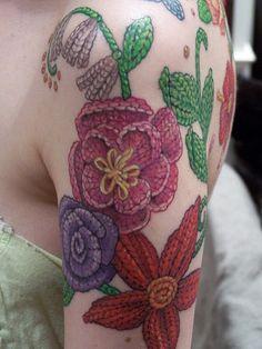 yarn flower tattoos! @W Fobbs nnennao