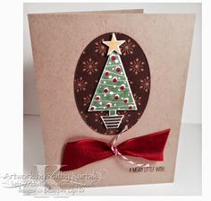 Festival of Trees stamp set and paper punch, Under the Tree DSP, Cherry Cobbler Sheer Linen Ribbon, Oval Framelits,