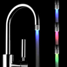Cheap tap top, Buy Quality aerator filter directly from China tap outlet Suppliers: Hight Quality 7 Colors LED Water Faucet Light Changing Glow Shower Head Kitchen Tap Aerators Bathroom Tub Shower, Shower Faucet, Bathroom Faucets, Bathroom Lighting, Kitchen Lighting, Bathrooms, Bathroom Ideas, Water Faucet, Water Tap