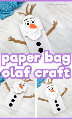 This paper bag Olaf craft for kids is a fun winter idea to celebrate Frozen Its a simple DIY that comes with a free printable template so its easy to do with preschool, kindergarten and elementary aged children. Winter Crafts For Kids, Crafts For Boys, Toddler Crafts, Crafts To Do, Preschool Activities, Preschool Kindergarten, Easy Crafts, Craft Kids, Babysitting Activities
