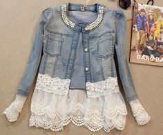 HEE GRAND Slim Lace Patchwork Beading Vintage Denim Jacket - - Outerwear, www.looklovelust.com - 1 https://www.looklovelust.com/products/hee-grand-slim-lace-patchwork-beading-vintage-denim-jacket