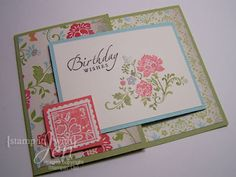 folds out--good for using up less than a half sheet Joy Fold Card, Fancy Fold Cards, Folded Cards, Birthday Wishes, Birthday Cards, Wishes Images, All Craft, Stampin Up Cards, Cardmaking
