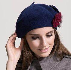 62fdab661162e Flower French beret hat for women winter wool hats  HatsForWomenCrochet   HatsForWomenWinter Wool Hats
