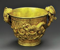 Gold cup, part of a two-piece set, Song Dynasty. Excavated in Yang Jia Chi's tomb, Guizhou, China in 2014.