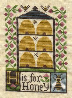 Ricami e schemi a Punto Croce gratuiti: Delizioso quadretto con le api a punto croce