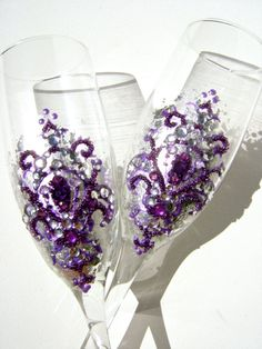Wedding toasting flutes hand decorated with by PureBeautyArt, $64.00