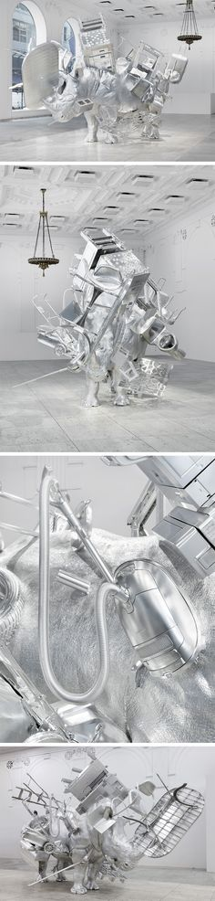The Magnetic Force of Urs Fischer's Life-Size Metallic Rhinoceros