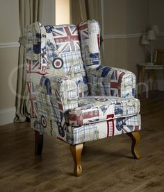 Exclusive Union Jack Novelty High Fireside Wing Chair
