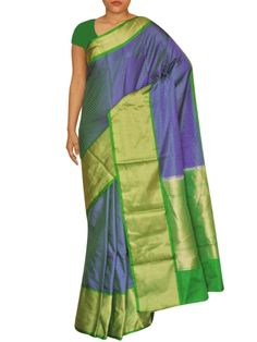 Details: Pure tanchui kataan silk in blue color with light golden zari border on both sides. green thin border adds the contrast to the traditional saree.  Specification: Length: 5.5 meters Width: 1.1 meter Blouse Piece: Yes, 80-90 cms Care information: The Silk sarees need to be treasured and handled with care. Only dry clean the sarees and keep under polybags to avoid damage. Shipping and Delivery: We ensure the delivery of the product in best condition possible. All silk