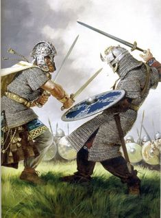 Irishman vs Viking engaged in single combat by Angus McBride. If the Saga game is indeed Gaels and Vikings I can't wait to see scenes like this in today's graphics and tech Medieval Art, Medieval Fantasy, Irish Warrior, Celtic Warriors, Early Middle Ages, Norse Vikings, Viking Art, Historical Art, Anglo Saxon